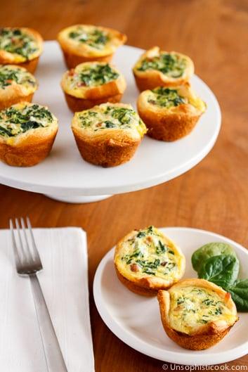 Easter brunch ideas - mini spinach quiche