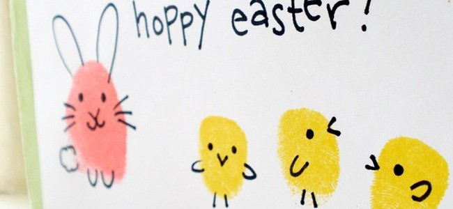 easter bunny and chick fingerpaint craft