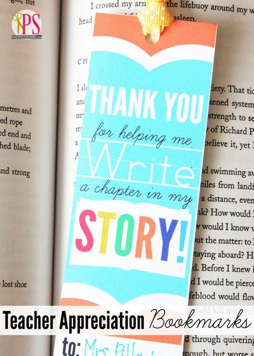 Teacher appreciation bookmark idea