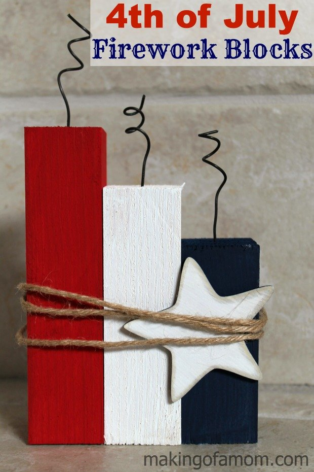 Fourth of July firework blocks tutorial. Great for home decor or a party centerpiece.