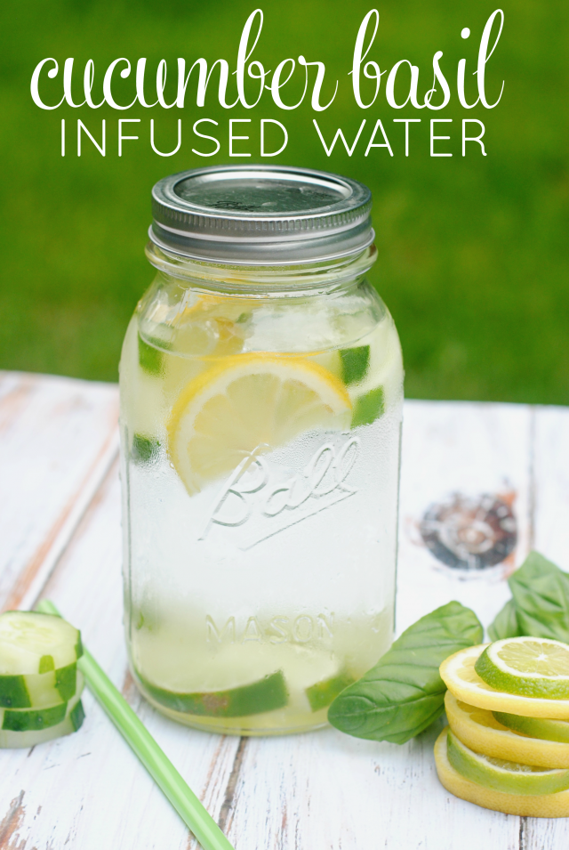 Cucumber basil infused water. Great for adding a little flavor to water when you're craving a soda.
