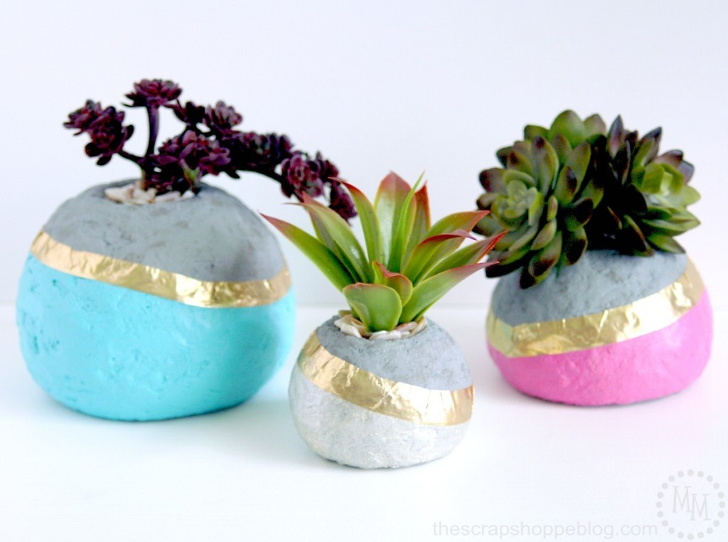 Faux color dipped concrete planters - these are made from styrofoam!