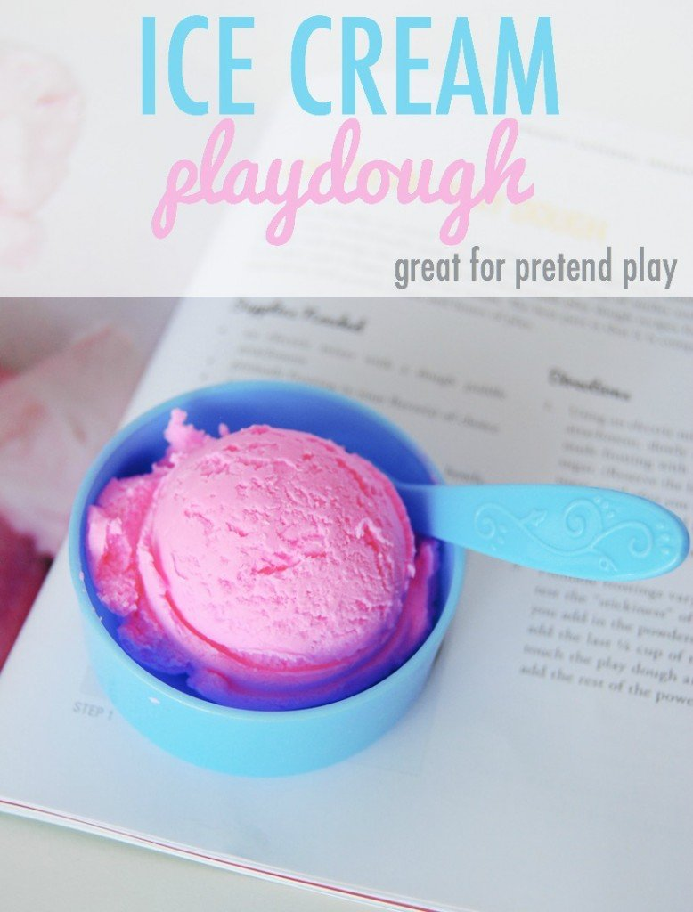 "Ice cream play dough recipe. This would be the perfect summer activity for younger kids. Between the time it takes to ""make"" the dough to the play time, it would fill an afternoon of ""I'm bored."""