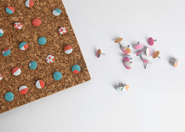 Dressed up thumb tacks + more great DIY projects to dress up basic office supplies.