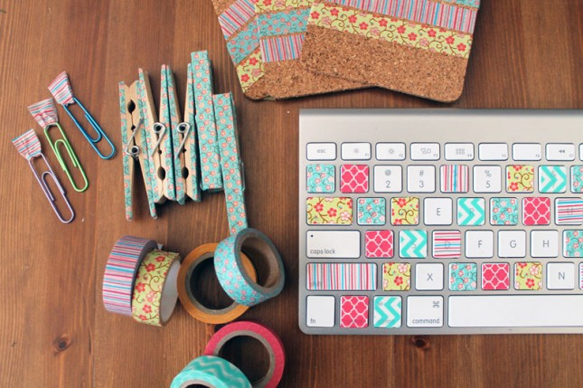 Washi tape keyboard + more great ideas for dressing up basic office supplies.