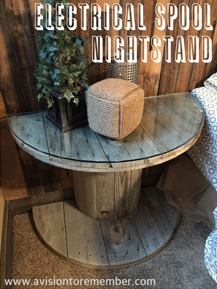 Electrical-Spool-DIY-to-Nightstand-by-A-Vision-to-Remember-End-table-Home-Decor-Free-Cycle