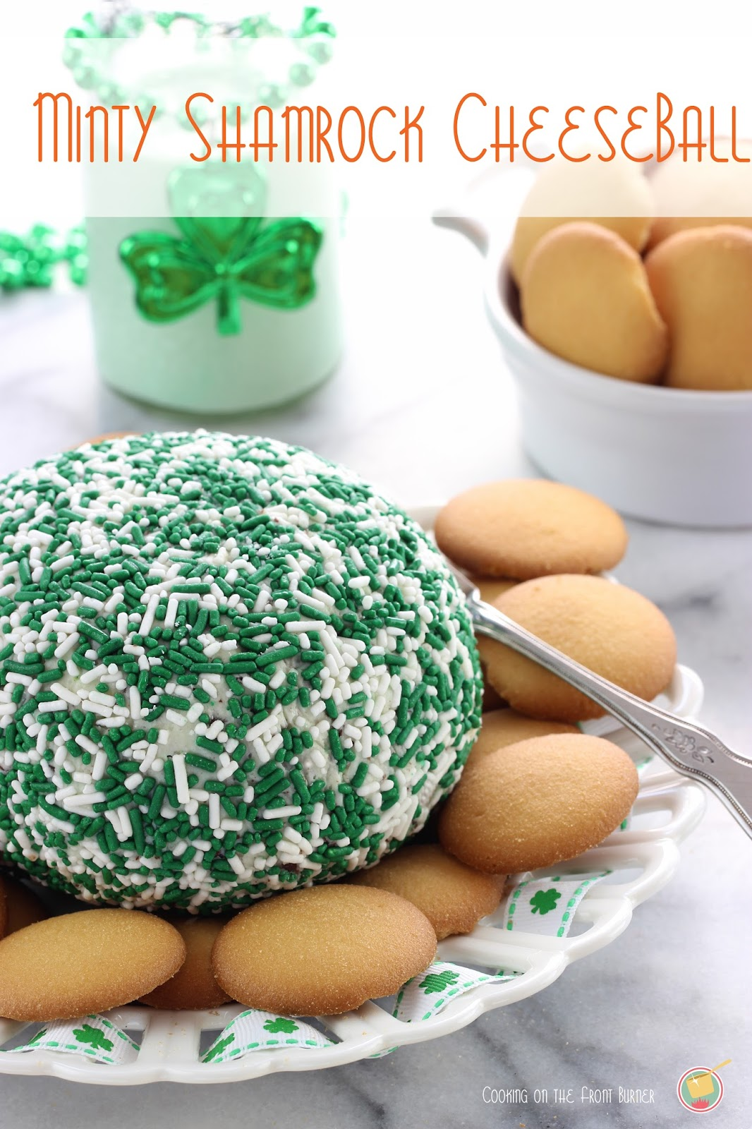St. Patrick's Day sweet cheeseball recipe. Perfect for an afternoon celebration.