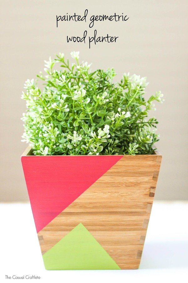 Painted geometric wood planter 1