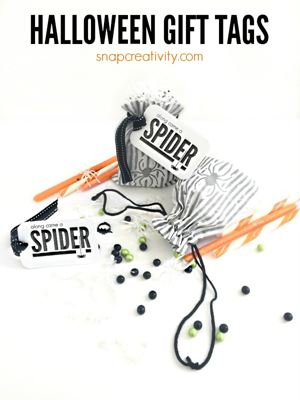 Along Came a Spider Halloween Gift Tags. Cute free printable gift tags for classroom treats or little gifts.