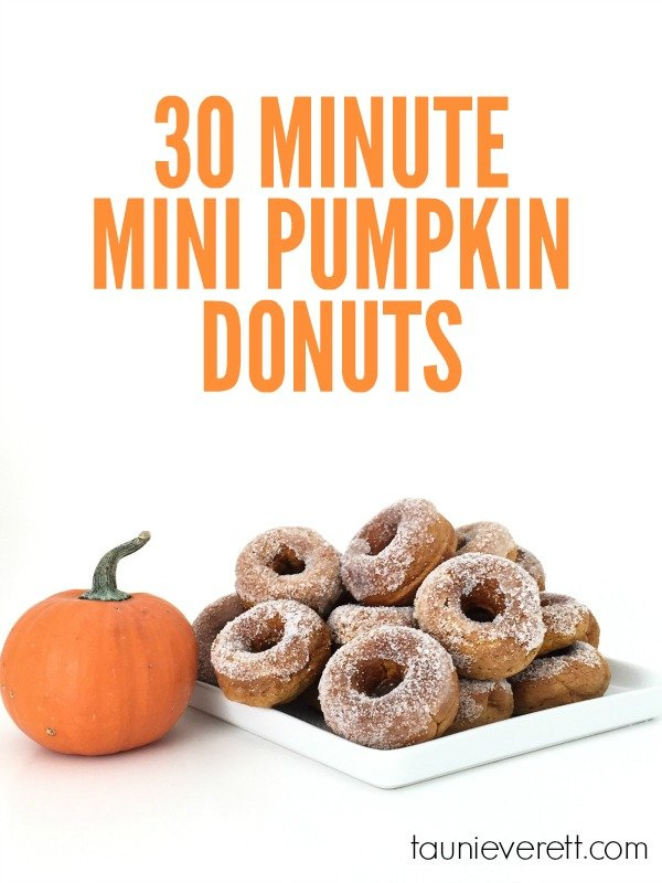 Pumpkin everything! This simple mini pumpkin donut recipe requires only four ingredients and takes less than 30 min start to finish. Perfect last minute treat in the fall.