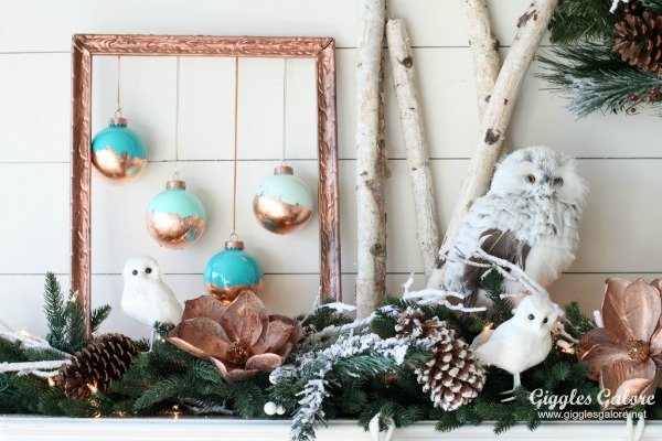 diy-painted-copper-leaf-christmas-ornaments-and-winter-woodland-mantle