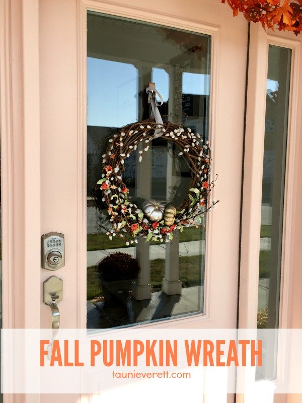 I love this fall pumpkin wreath. It was made for less than $10.