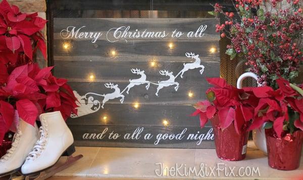 Illuminated reindeer sleigh christmas sign