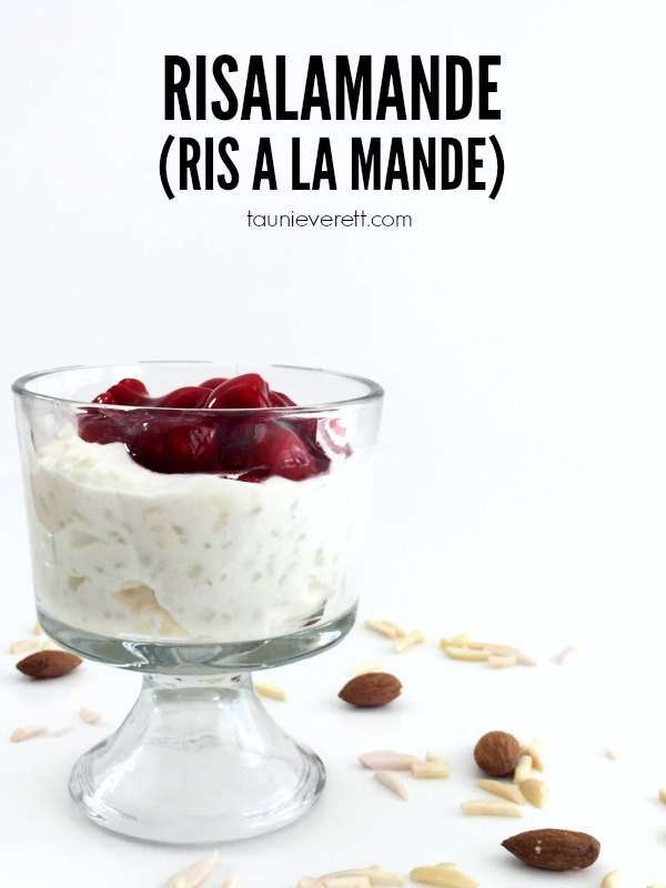 Risalamande (Ris a La Mande) is a traditional Danish rice pudding mixed with whipped cream, almonds and topped with a cherry sauce. Pin for the full recipe and fun shenanigans associated with this dish.
