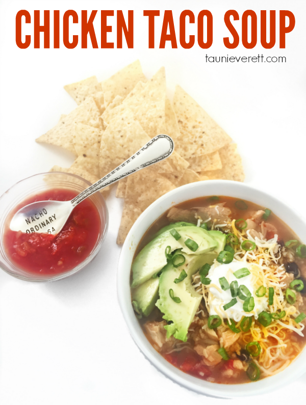 Quick and easy chicken taco soup. Takes less than 10 min prep and serves a crowd.
