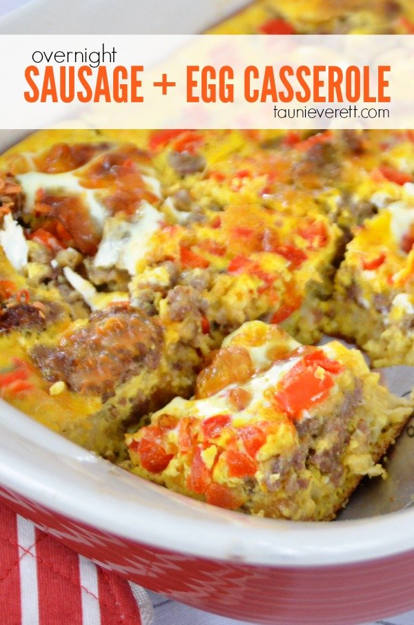 Overnight sausage and egg casserole. Perfect for quick breakfasts or as a side dish at brunch!
