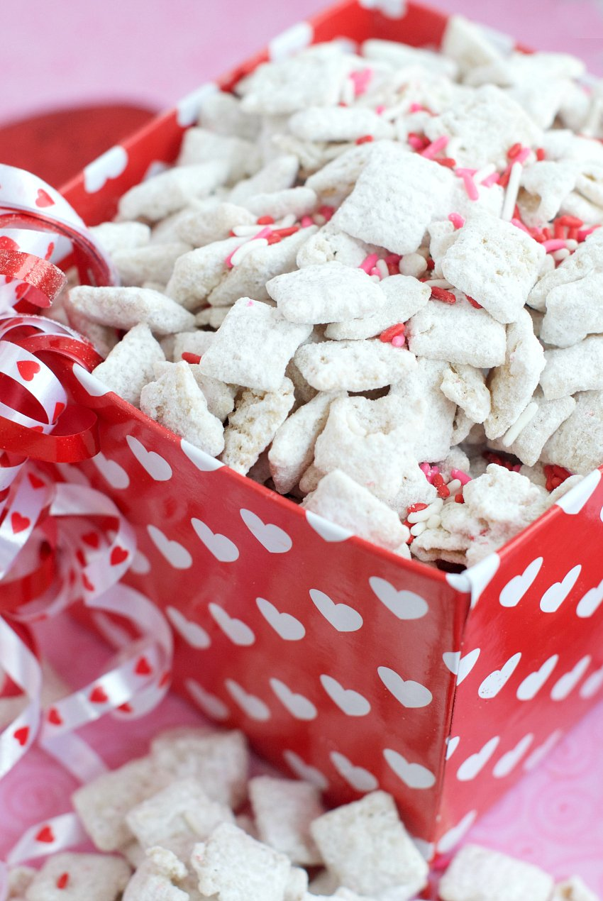 Cherry chip muddy buddies are the perfect treat to enjoy with your family or package up and share.