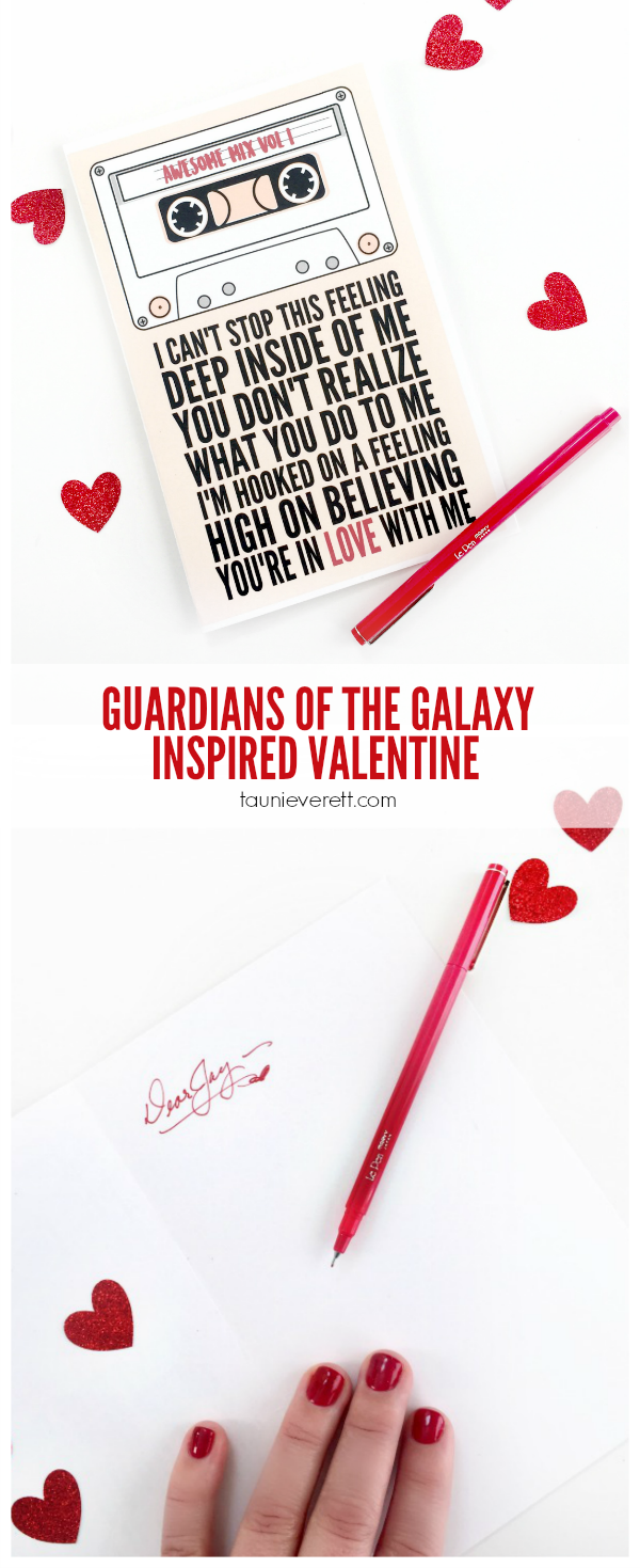 Guardians of the Galaxy Inspired Valentine Card. FREE download + print at home file.