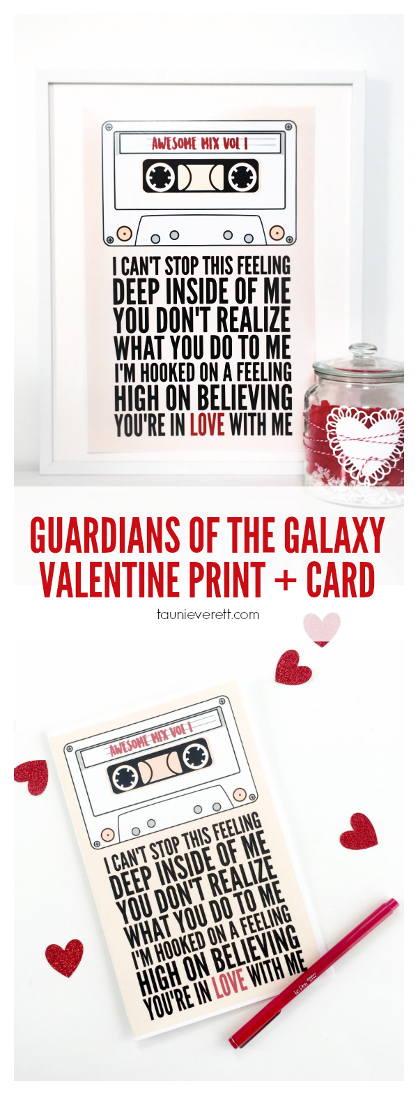 Guardians of the galaxy inspired Valentine print and card. FREE download.