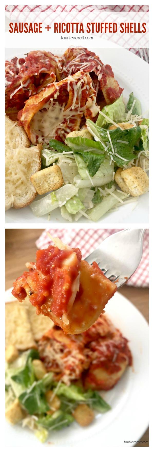 Sausage ricotta stuffed shells recipe. Perfect quick dinner that will impress!