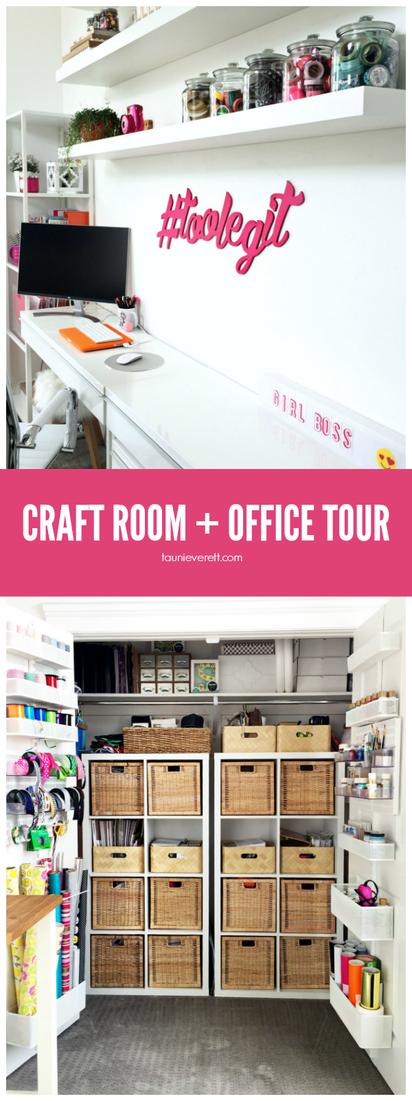 Scouring the web for great craft room and home office ideas? We've got you covered with a great home office and craft room tour.