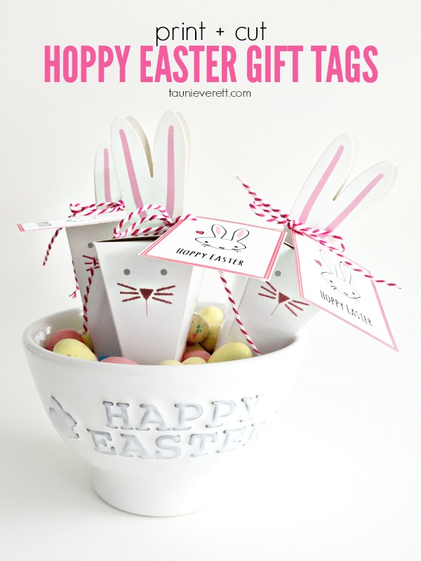 Download these FREE print + cut Hoppy Easter gift tags