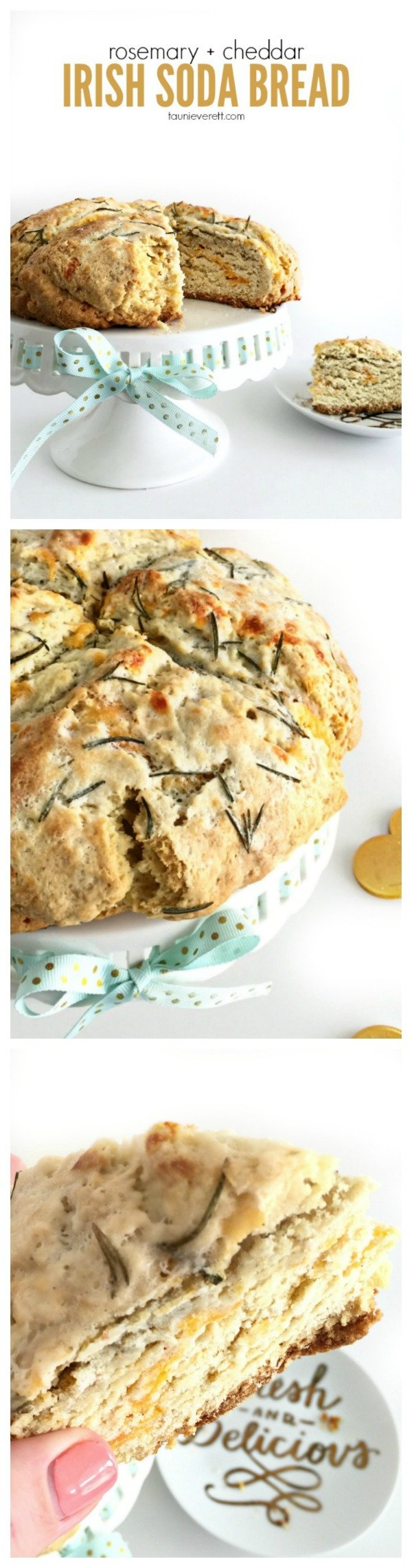 Rosemary cheddar Irish Soda Bread Recipe. Perfect for St. Patrick's Day!