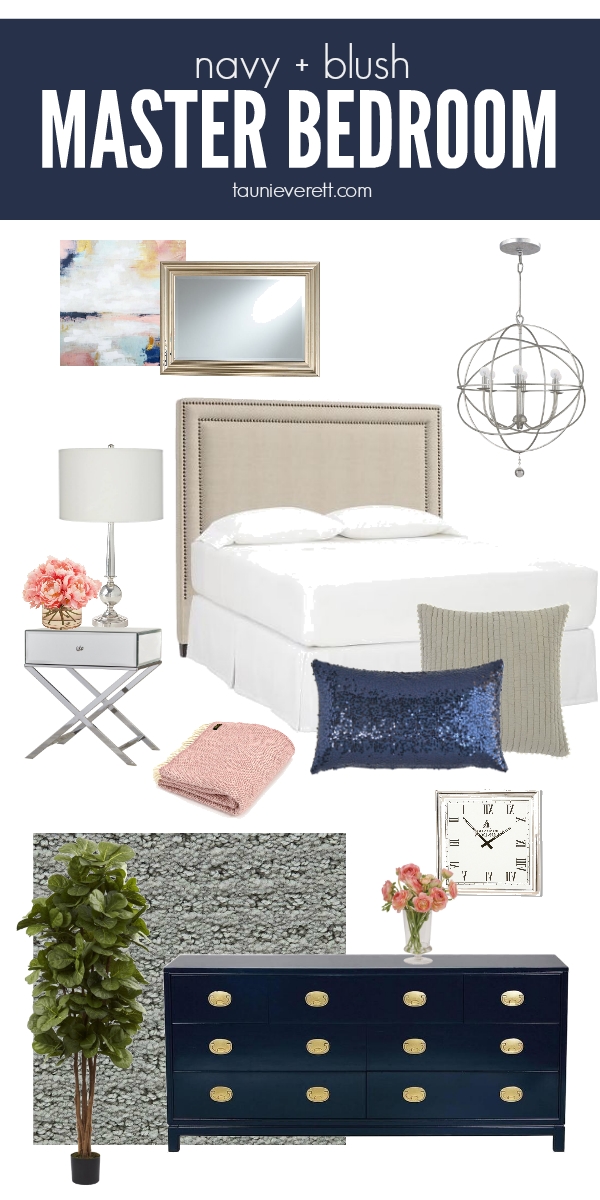 Navy and Blush Master Bedroom Ideas
