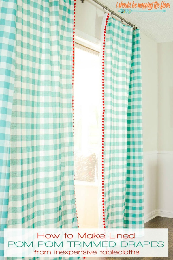 how to add pom pom trim to drapes
