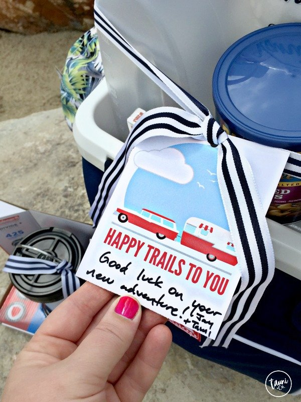 "Love this retirement gift idea. A cooler ""gift basket"" and you can download the free Happy Trails gift tag!"