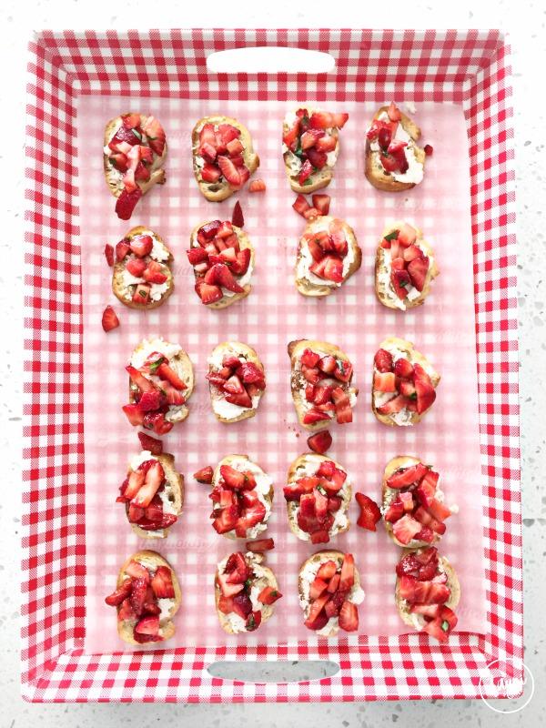 Savory Strawberry Basil Bruschetta. Perfect spring appetizer. Ready in 15 min.