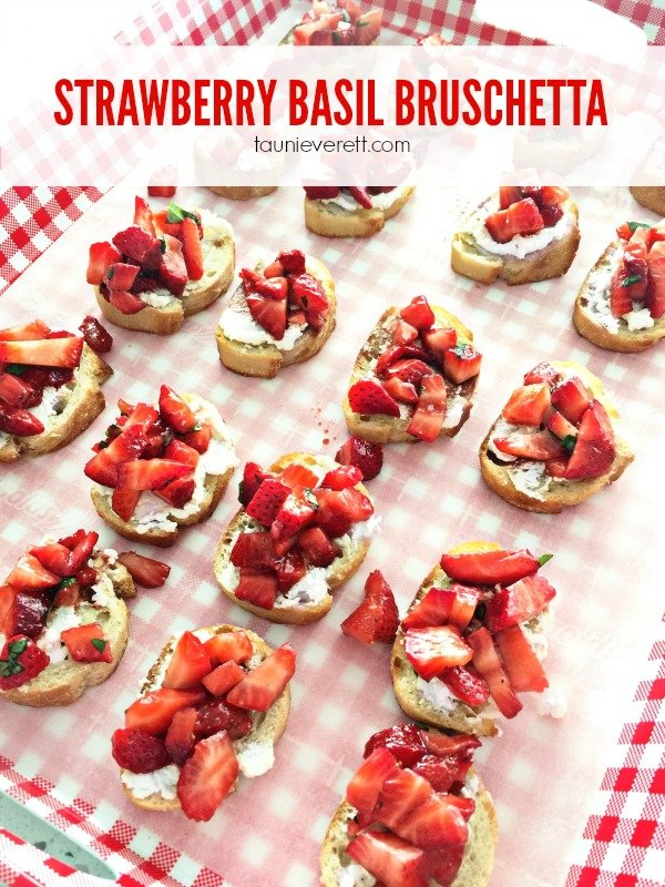 Savory Strawberry Basil Bruschetta. Perfect spring appetizer. Ready in 15 min.