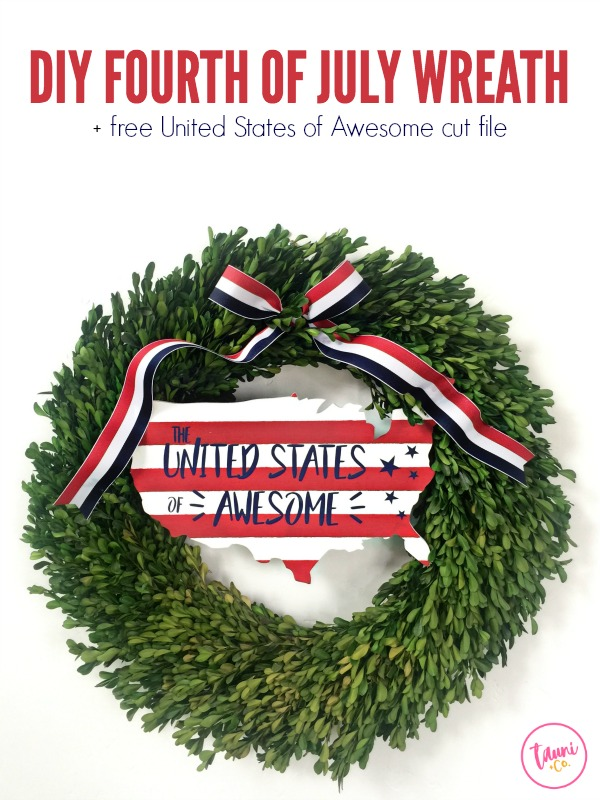 Patriotic Fourth of July Wreath with FREE Cheeky American cut file. 4th of July