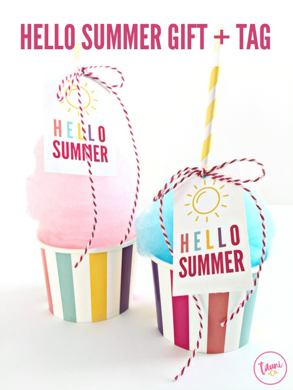 Welcome summer with this fun cotton candy treat and the FREE print + cut Hello Summer gift tag.