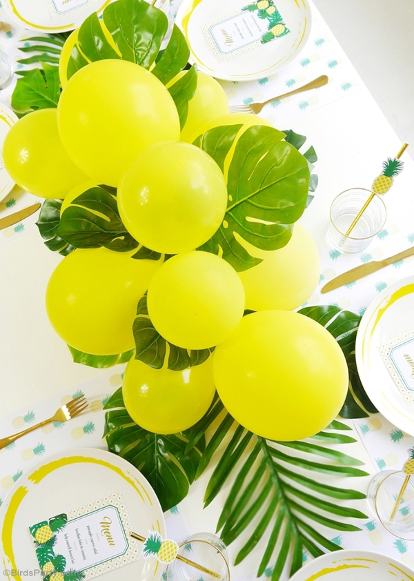 Pineapple party tablescape centerpiece balloons tropical
