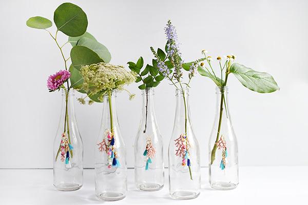 Diy tassel charm flower vases