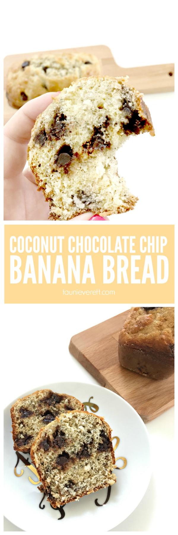 Moist, Sweet Coconut Chocolate Chip Banana Bread.