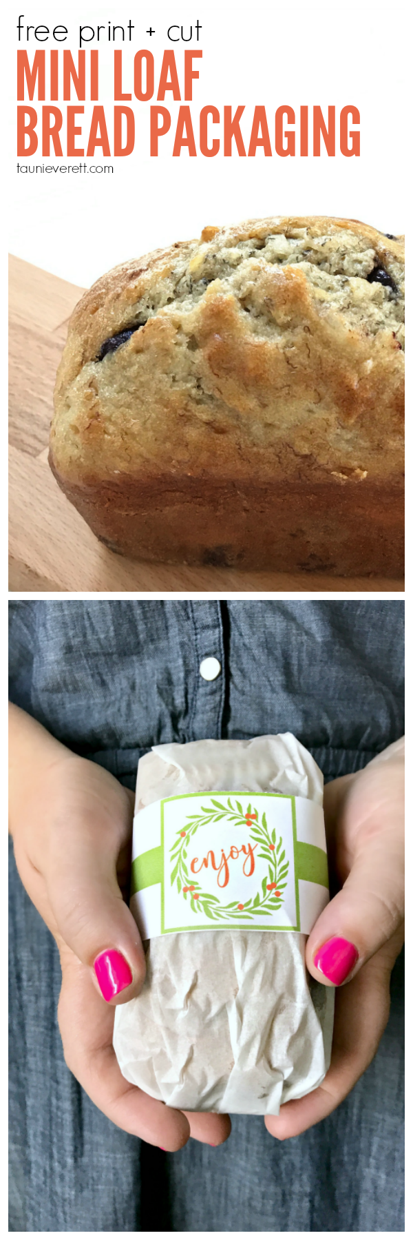 Free print and cut mini loaf bread packaging + coconut chocolate banana bread.