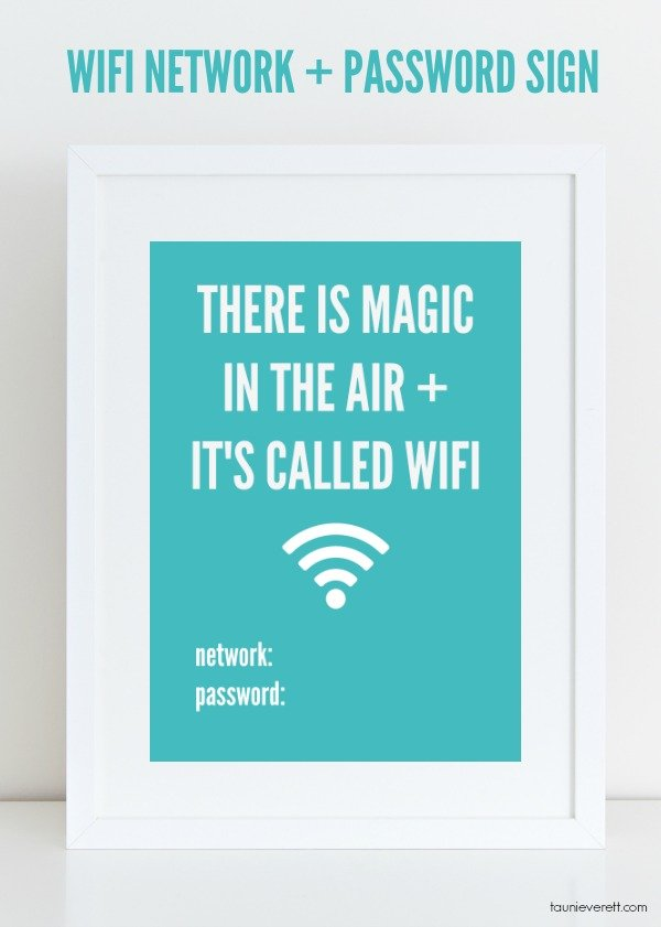Free Downloadable Guest Room WiFi Network and Password Sign