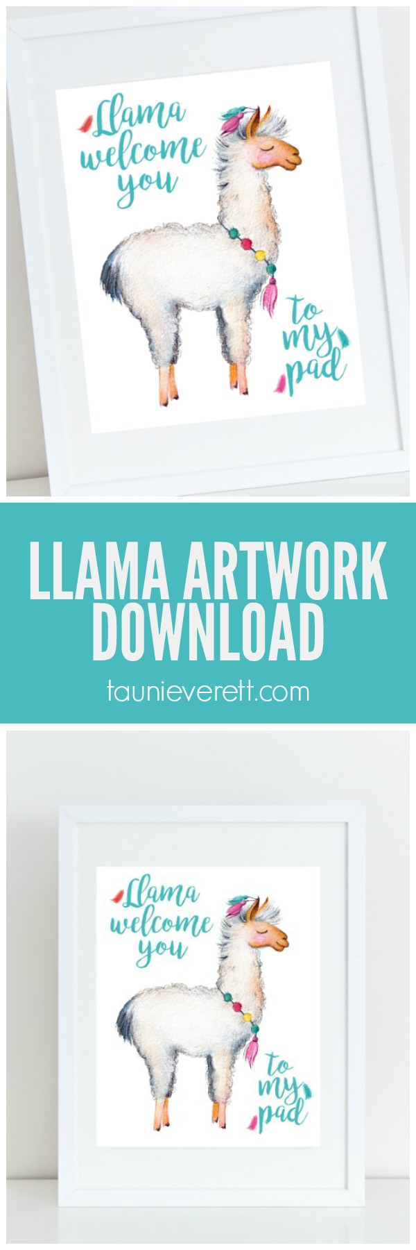 """Free instant download llama bedroom art. """"Lama Welcome You to My Pad"""""""