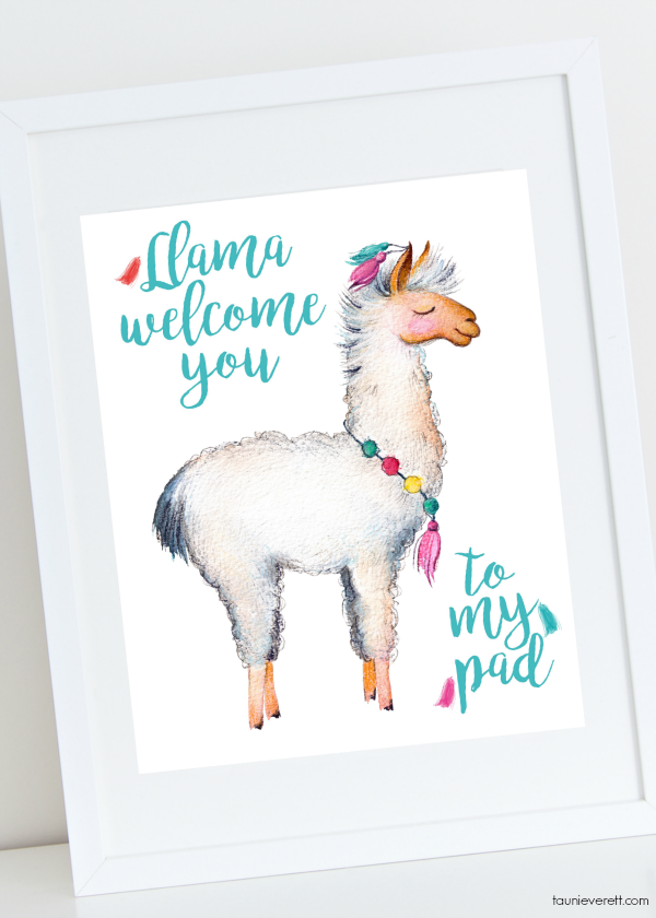 "Free instant download llama bedroom art. ""Lama Welcome You to My Pad"""