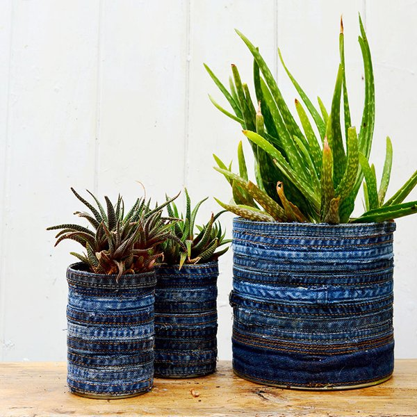 Recycled jean planter 3 sq s