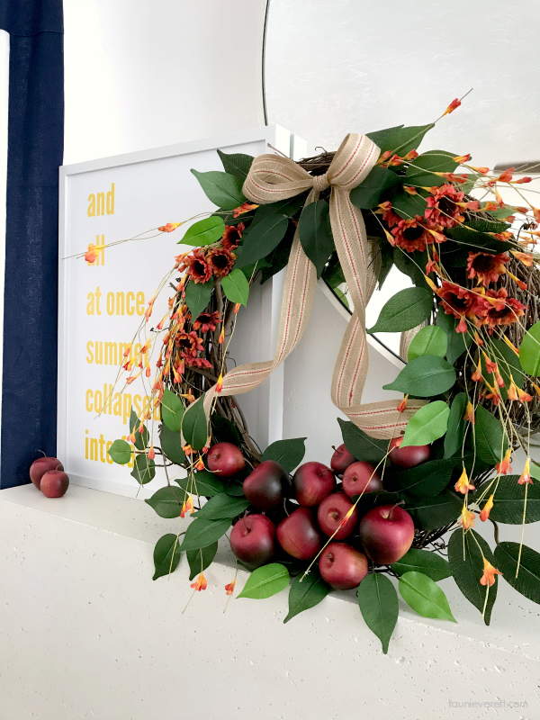 Fall apple mantel wreath with three free downloadable prints.