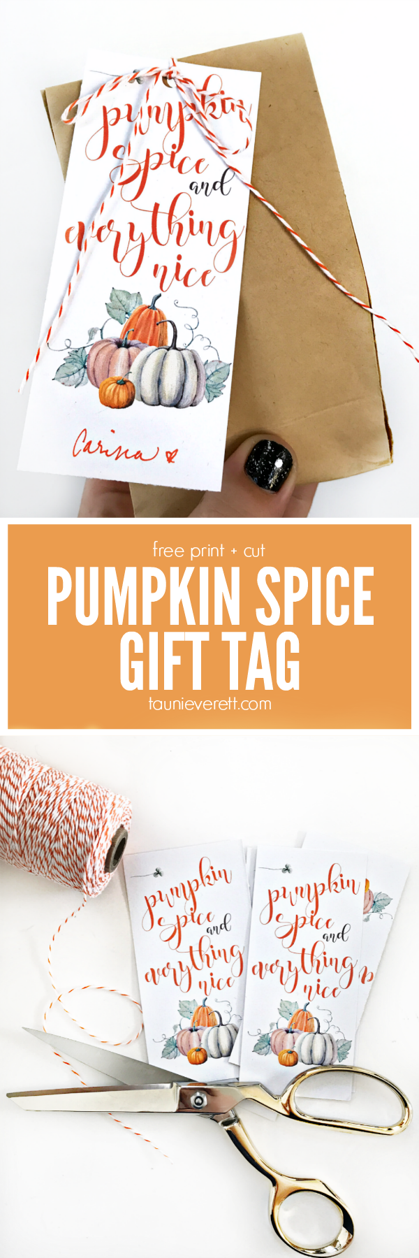 Free print and cut pumpkin spice gift tag #pumpkin #pumpkinspice #printable