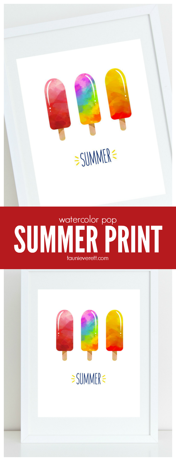 Summer watercolor pop print available for free download. Perfect for celebrating the start of summer.