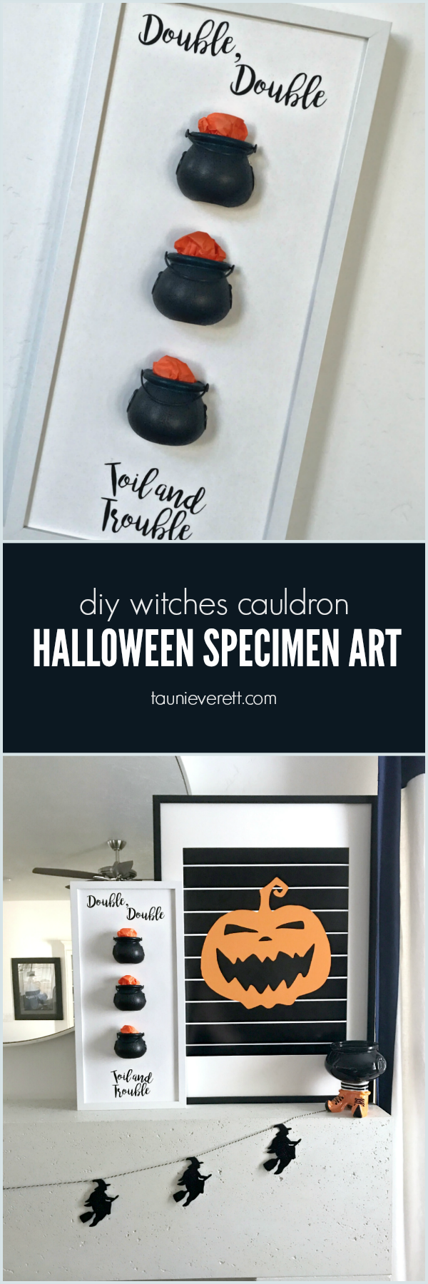 DIY witches cauldron Halloween specimen art. #halloween #halloweenart