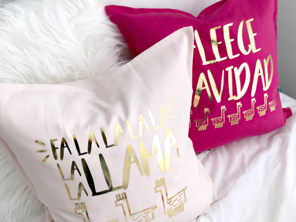 DIY Holiday Pillows + Fa La Llama Christmas Cut File