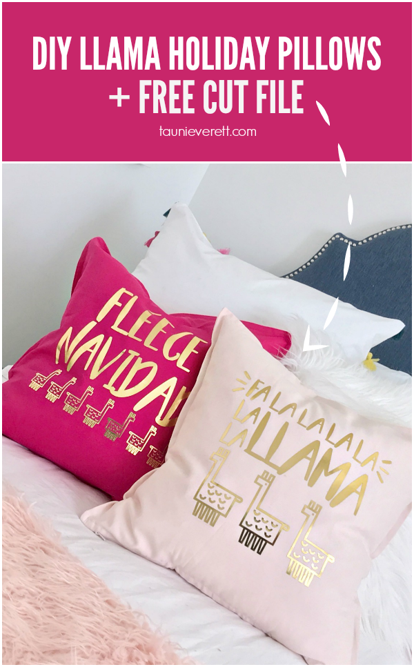DIY Llama Holiday Pillows featuring Fleece Navidad and Fa La Llama Christmas Cut File #christmas #christmaspillow #llamachristmas #cutfile #silouhette #cricut