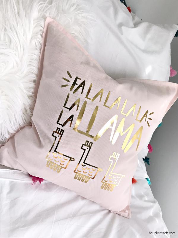 DIY Llama Holiday Pillows featuring Fleece Navidad and Fa La Llama Christmas Cut File #christmas #christmaspillow #llamachristmas #cutfile #silouhette #cricut