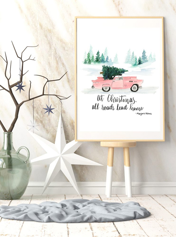 Millenial pink vintage car christmas tree watercolor print 2